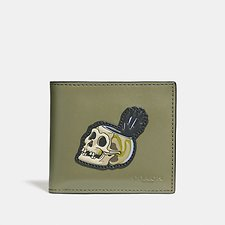 Image of Coach Australia ARMY GREEN DISNEY X COACH DOUBLE BILLFOLD WALLET WITH SKULL