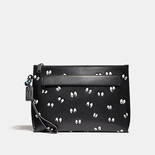 Image of Coach Australia BLACK DISNEY X COACH CARRYALL POUCH WITH SPOOKY EYES PRINT
