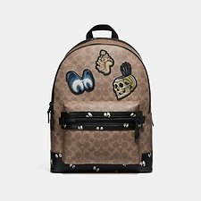 Image of Coach Australia MW/KHAKI DISNEY X COACH ACADEMY BACKPACK IN SIGNATURE PATCHWORK