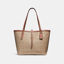 Image of Coach Australia B4/TAN RUST MARKET TOTE IN SIGNATURE CANVAS