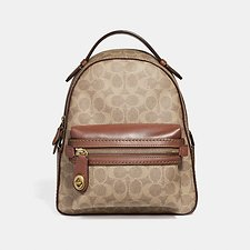 Image of Coach Australia B4/TAN RUST CAMPUS BACKPACK 23 IN SIGNATURE CANVAS