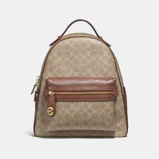Image of Coach Australia B4/TAN RUST CAMPUS BACKPACK IN SIGNATURE CANVAS