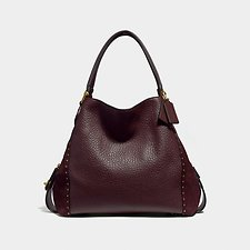 Image of Coach Australia B4/OXBLOOD EDIE SHOULDER BAG 42 WITH RIVETS