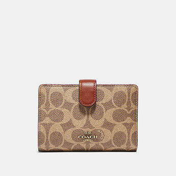 Image of Coach Australia  MEDIUM CORNER ZIP WALLET IN COLORBLOCK SIGNATURE CANVAS