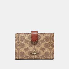 Image of Coach Australia B4/TAN RUST MEDIUM CORNER ZIP WALLET IN COLORBLOCK SIGNATURE CANVAS