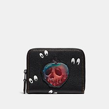 Image of Coach Australia BP/BLACK DISNEY X COACH SMALL ZIP AROUND WALLET WITH SPOOKY EYES PRINT