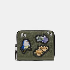 Image of Coach Australia BP/ARMY GREEN DISNEY X COACH SMALL ZIP AROUND WALLET WITH SPOOKY EYES PRINT