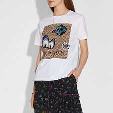 Picture of DISNEY X COACH SIGNATURE T-SHIRT WITH PATCHES