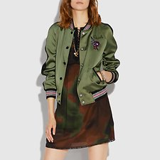 Image of Coach Australia FIELD GREEN REVERSIBLE SATIN VARSITY JACKET