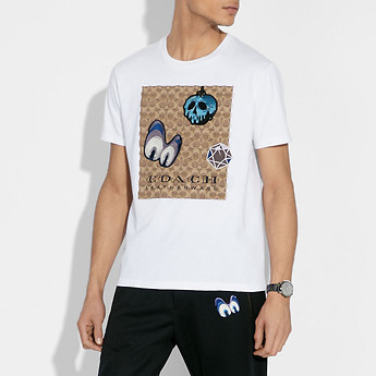 Image of Coach Australia  DISNEY X COACH SIGNATURE T-SHIRT WITH PATCHES