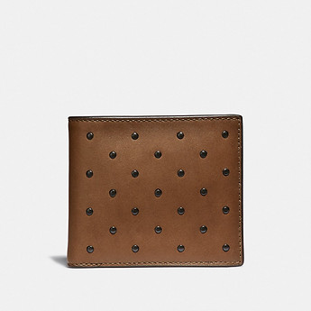 Image of Coach Australia  DOUBLE BILLFOLD WALLET WITH RIVETS