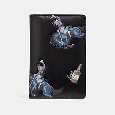 Image of Coach Australia BLACK/BLUE CARD WALLET WITH RODEO PRINT