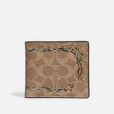 Image of Coach Australia KHAKI DOUBLE BILLFOLD WALLET IN SIGNATURE CANVAS WITH TATTOO