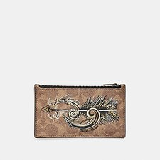 Image of Coach Australia KHAKI ZIP CARD CASE IN SIGNATURE CANVAS WITH TATTOO