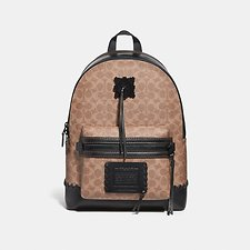 Image of Coach Australia MW/BLACK/KHAKI ACADEMY BACKPACK IN SIGNATURE CANVAS WITH WHIPSTITCH