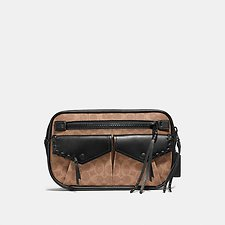 Image of Coach Australia MW/BLACK/KHAKI UTILITY BELT BAG 25 IN SIGNATURE CANVAS