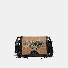 Image of Coach Australia BP/TAN BLACK DINKY 19 IN SIGNATURE CANVAS WITH TATTOO