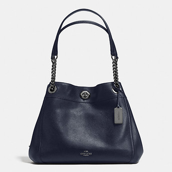 Image of Coach Australia  EDIE SHOULDER BAG IN POLISHED PEBBLE LEATHER