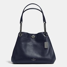 Image of Coach Australia DK/NAVY EDIE SHOULDER BAG IN POLISHED PEBBLE LEATHER