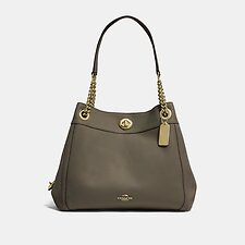 Image of Coach Australia GD/MOSS EDIE SHOULDER BAG IN POLISHED PEBBLE LEATHER
