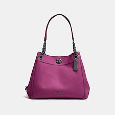 Image of Coach Australia GM/DARK BERRY EDIE SHOULDER BAG IN POLISHED PEBBLE LEATHER