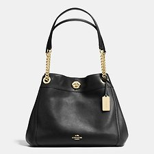 Image of Coach Australia LI/BLACK EDIE SHOULDER BAG IN POLISHED PEBBLE LEATHER