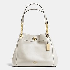 Image of Coach Australia LI/CHALK EDIE SHOULDER BAG IN POLISHED PEBBLE LEATHER