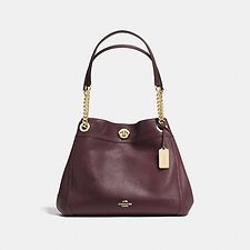 Image of Coach Australia LI/OXBLOOD EDIE SHOULDER BAG IN POLISHED PEBBLE LEATHER