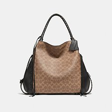Image of Coach Australia BP/TAN BLACK EDIE SHOULDER BAG 42 IN SIGNATURE CANVAS WITH WHIPSTITCH