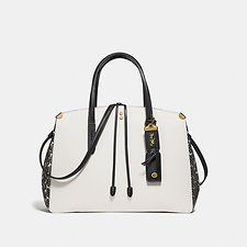 Image of Coach Australia B4/CHALK MULTI COOPER CARRYALL IN COLORBLOCK WITH GENUINE SNAKE DETAIL