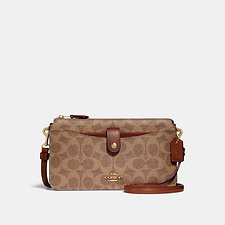Image of Coach Australia B4/TAN RUST POP-UP MESSENGER IN COLORBLOCK SIGNATURE CANVAS