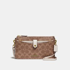 Image of Coach Australia B4/TAN CHALK POP-UP MESSENGER IN COLORBLOCK SIGNATURE CANVAS