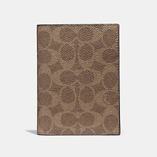 Image of Coach Australia KHAKI PASSPORT CASE IN SIGNATURE CANVAS