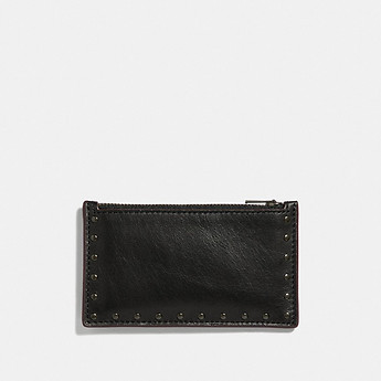 Image of Coach Australia  ZIP CARD CASE WITH RIVETS