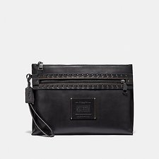 Image of Coach Australia BLACK ACADEMY POUCH WITH RIVETS
