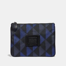 Image of Coach Australia BLACK/DENIM MULTIFUNCTIONAL POUCH WITH GEO PRINT