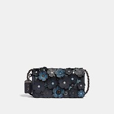 Image of Coach Australia BP/MIDNIGHT NAVY TEA ROSE APPLIQUE DINKY CROSSBODY IN LEATHER