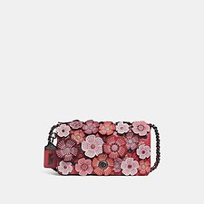 Image of Coach Australia BP/WASHED RED TEA ROSE APPLIQUE DINKY CROSSBODY IN LEATHER