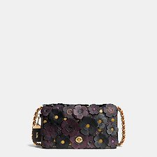Image of Coach Australia OL/BLACK TEA ROSE APPLIQUE DINKY CROSSBODY IN LEATHER