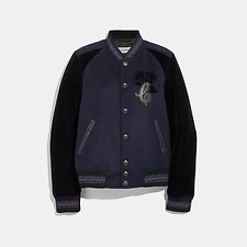 Image of Coach Australia NAVY VARSITY JACKET