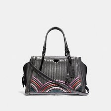 Image of Coach Australia GM/METALLIC GRAPHITE MULTI DREAMER WITH QUILTING AND RIVETS