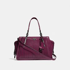 Image of Coach Australia GM/DARK BERRY DREAMER WITH QUILTING AND RIVETS