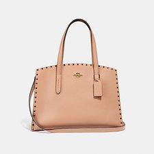 Image of Coach Australia B4/NUDE PINK CHARLIE CARRYALL WITH CRYSTAL RIVETS