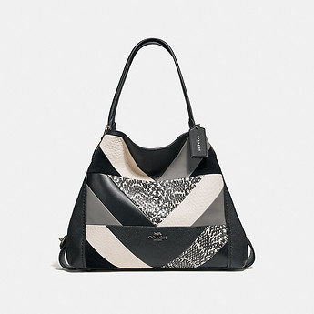 Image of Coach Australia  EDIE SHOULDER BAG 31 WITH PATCHWORK AND SNAKESKIN DETAIL