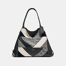 Image of Coach Australia V5/BLACK MULTI EDIE SHOULDER BAG 31 WITH PATCHWORK AND SNAKESKIN DETAIL