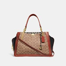 Image of Coach Australia B4/TAN BLACK MULTI DREAMER 36 IN SIGNATURE CANVAS WITH SNAKESKIN DETAIL
