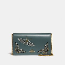 Image of Coach Australia B4/EVERGREEN FOLDOVER CHAIN CLUTCH WITH TATTOO