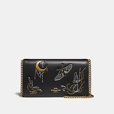 Image of Coach Australia B4/BLACK FOLDOVER CHAIN CLUTCH WITH TATTOO