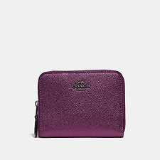 Image of Coach Australia GM/METALLIC BERRY SMALL ZIP AROUND WALLET