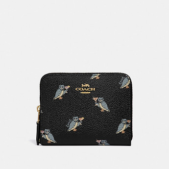 Image of Coach Australia  SMALL ZIP AROUND WALLET WITH PARTY OWL PRINT